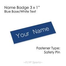 "Name Badge Tag Blue/White Personalised Engraved Customised Safety Pin 3x1"" Em..."