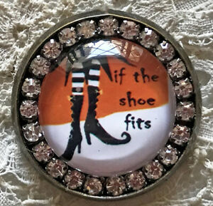 """IF THE SHOE FITS Glass Rhinestone BROOCH Lapel Scatter Pin Halloween Witch 1"""""""
