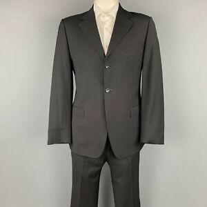 GUCCI Size 42 Regular Black Wool Notch Lapel Suit