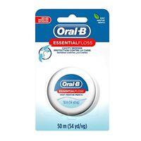 6 Pack Oral B Essential Dental Floss Waxed Mint Flavour 50m/54yd Each