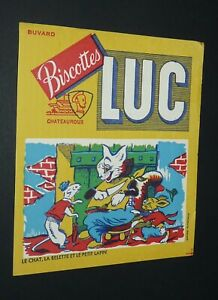 BUVARD 1960-1965 BISCOTTES LUC CHATEAUROUX FABLE LA FONTAINE CHAT BELETTE LAPIN