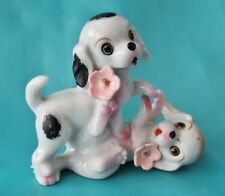 """Vintage Porcelain Puppies Playing Figurine 2 Dogs with Pink Flowers Japan 3 3/4"""""""