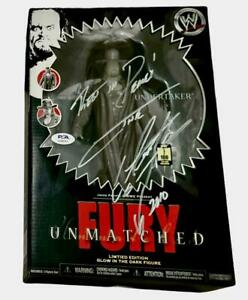 WWE UNDERTAKER HAND SIGNED AND INSCRIBED 1 OF 100 UNMATCHED FURY TOY PSA DNA COA