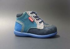 Brand New $80 KICKERS Baby Boys Shoes LEATHER Fashion Blue Size 3,5 USA/19 EURO