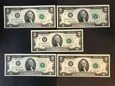A Collection Of 5 1976 $2 Bill Crisp New U.S. Jefferson Series B Fed. Res. Note
