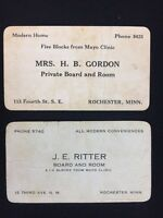 2 Antique Early 20th Century Business Cards Rooming Houses Mayo Clinic Rochester