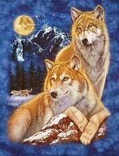 T-Shirt blau Wolf,Wölfe+Mond,Gr. S, M, L, XL,Western Biker Indianer Cowboy,Husky