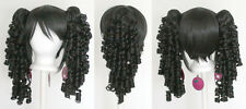 18'' Ringlet Pig Tails + Base Natural Black Cosplay Lolita Wig NEW