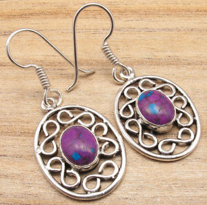 925 Silver Overlay PURPLE COPPER TURQUOISE Overall Fit Earrings WELL MADE