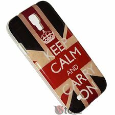 Cover Custodia Per Samsung Galaxy S4 i9500 Inghilterra Keep Calm And Carry On