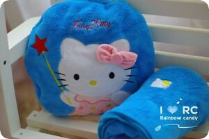 CLEARANCE SALE Hello Kitty Coral Fleece Cushion+Blanket Baby Gift Decoration