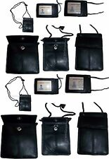 Lot of 12 New Neck string ID Case, Credit Card Case, Black Wallet pouch Money BN