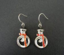 Sterling Silver 925 Pierced Earrings Jezlaine Snowman with Enamel Hat Scarf