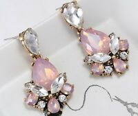 1 Pair Elegant Pink Crystal Rhinestone  Ear Drop Dangle Stud long Earrings 157