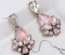 1 Pair Elegant Pink Crystal Rhinestone  Ear Drop Dangle Stud long Earrings 157