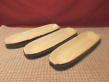 Nice Older Set of 3 Stoneware Boiled Corn Holders Brown & Cream