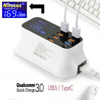 8 Ports Quick Charge 3.0 Smart USB Hub Adapter Charger Station Led Display