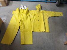Unisex Yellow SBR Rubber Rain Jacket with Hood & Rain Bib Overall, Size Small