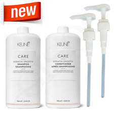 Keune Care 1L Keratin Smooth Shampoo & Conditioner 1000ml + 2xFREE PUMPS