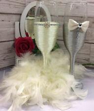 Mr & Mrs Bride and Groom Wedding Champagne Flutes