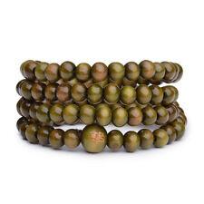 Vintage Natural 6mm Green Wood beads Prayer Mala Sandalwood Buddhist Bracelet