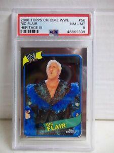 2008 Topps Chrome WWE Ric Flair PSA NM-MT 8 Wrestling Card #56 POP 1