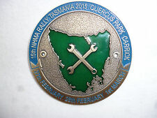 ENAMEL VINTAGE MACHINERY RALLY GRILL PLAQUE BADGE NHMA 2015 TASMANIA - 8cm dia.