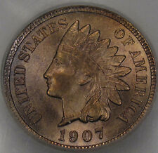 1907 Indian Head Cent  Gem BU MS+++ RB... Virtually Fully Red! MPD in Dentils!!!
