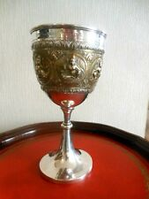 Beautiful Antique Indian Silver & Gilt Goblet - 1904 Engraved Trophy