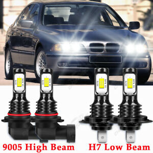 For BMW 528i 1997-2000 9005+H7 Headlight LED 4x Bulbs Combo 6000K Conversion Kit