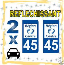 2 stickers REFLECHISSANT département 45 rétro-réfléchissant immatriculation AUTO