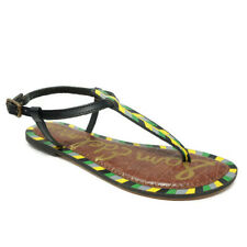 33762f41b Sam Edelman Womens T Strap Gigi Sandals Size 8.5M Hand Painted Green Blue  Yellow