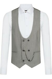 Jack Martin - Grey & Black Textured Double Breasted Suit Waistcoat