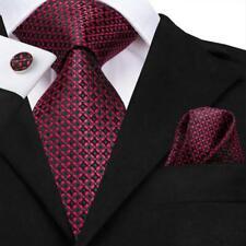 Classic Burgundy Red Plaids Mens Tie Set Woven Silk Necktie Wedding Formal Party
