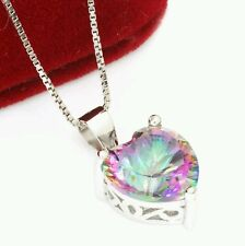 4ct Genuine Mystic Rainbow Topaz Pendant Solid 925 Sterling Silver New Heart