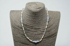 """Blue Lace Agate, Crystal, Freshwater Pearl & Silver handmade necklace 18.2"""""""