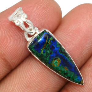 Azurite In Malachite - Morenci Mines 925 Sterling Silver Pendant Jewelry BP97177