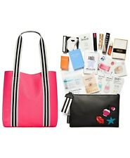 Macy's Tote Beauty Gift Set with 14-piece Sampler- Hot Pink