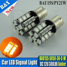 2x PY21W  BAU15S 5050 AMBER CANBUS Error Free SMD Brake Tail Car LED Light Bulbs