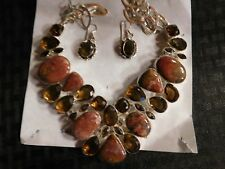 Necklace & Earrings Set Sterling Silver, Red Plume Agates 16-18""
