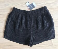 TOPSHOP Black Beading Sequin Mini Shorts With Stretch Waist 10 BNWT Rrp £42