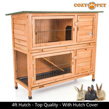 Rabbit Hutch by Cozy Pet 4 ft Natural with Cover 2 Levels Guinea Pig Run Ferret