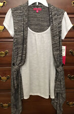 Almost Famous Black White Layered Tunic Top Medium