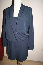 SET Kleid Gr. 34 XS OUISET Oui Businesskleid dunkelblau Abendkleid NEU