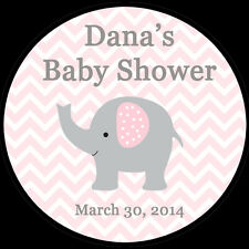 """12 Personalized Round Stickers - Pink Elephant Baby Shower  - 2.5"""" Inches"""