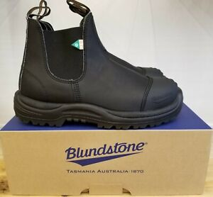 NEW IN THE BOX BLUNDSTONE 168 WORK & SAFETY BOOT RUBBER TOE CAP BLACK MEN