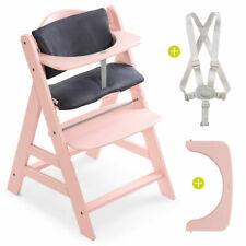 Hauck Hochstuhl Holz Baby Kinder Alpha Plus Rose bis 90 kg mit Sitzkissen Grey