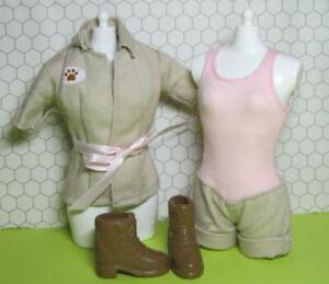 BARBIE DOLL I CAN BE A VET ZOOKEEPER NURSERY OUTFIT CLOTHES KHAKI JACKET BOOTS +