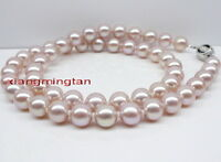 """AAAAA 18""""10-11mm round NATURAL REAL South sea PINK PURPLE pearl necklace 14K"""