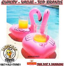 12x Rosa Flamingo flotante piscina inflable bebida puede titular vacaciones viajes de fiesta